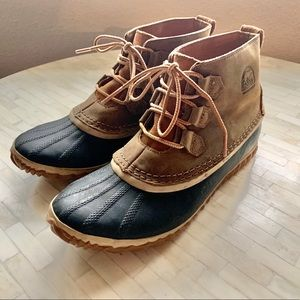 SOREL Waterproof ankle rubber & leather duck boots